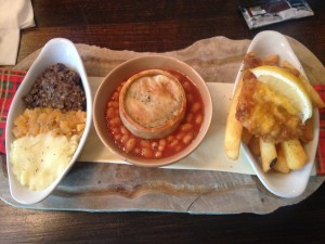 Left: Haggis Center: Scottish Pie Right: Fish and Chips